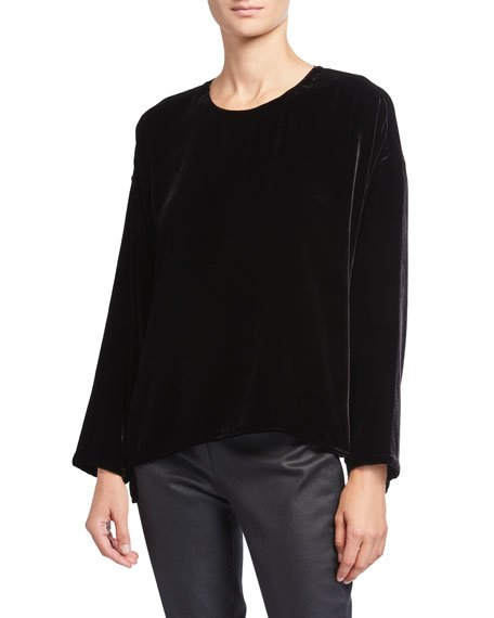 Petite Crewneck Long-Sleeve Velvet Top