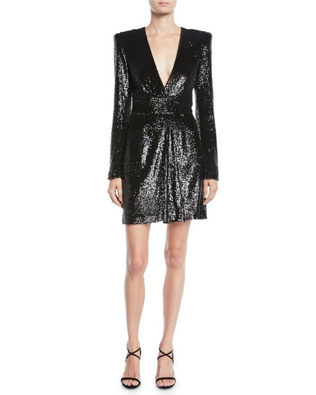 Mara Sequined Strong-Shoulder Short Dress