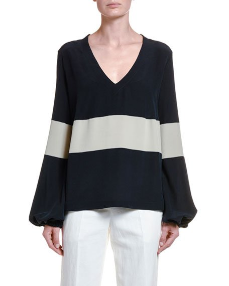 Nautical Striped Silk Poet-Sleeve Blouse