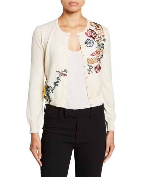 Floral Embroidered Button Front Wool Cardigan