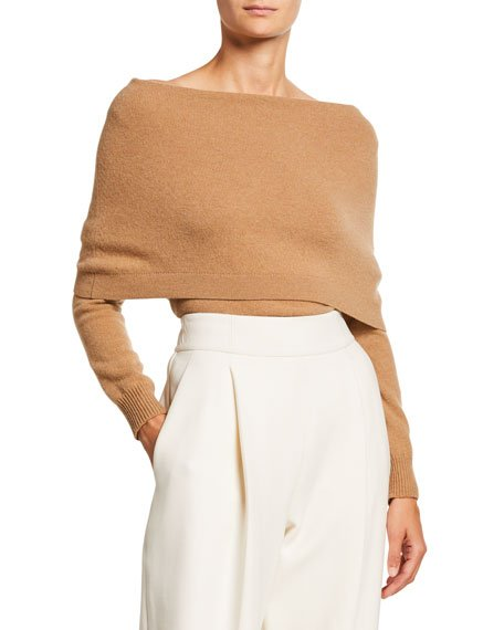 Fold Over Off-the-Shoulder Long-Sleeve Cashmere Sweater