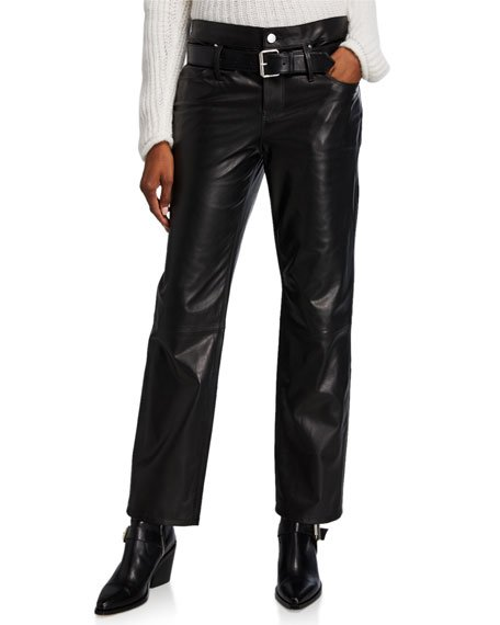 Dexter Belted Leather Pants