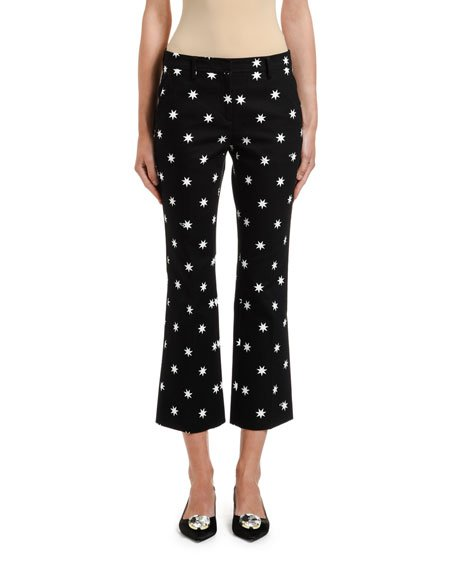 Star-Print Cropped Pants