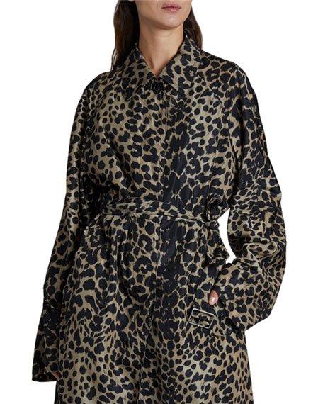 Leopard Print Long Rain Coat