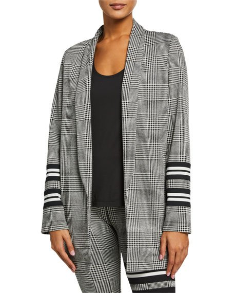 Metric Plaid Open-Front Coat