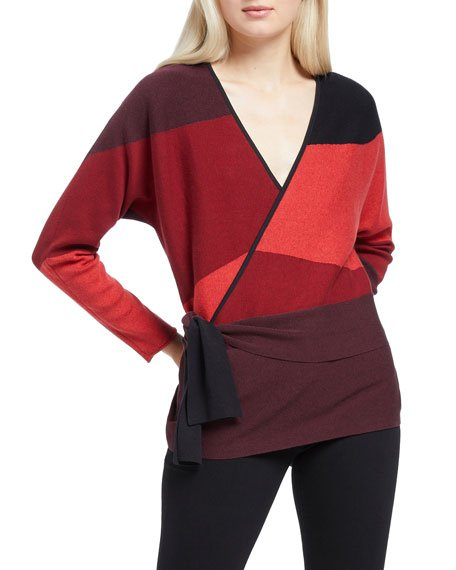 Petite New Wave Colorblock Tie Top