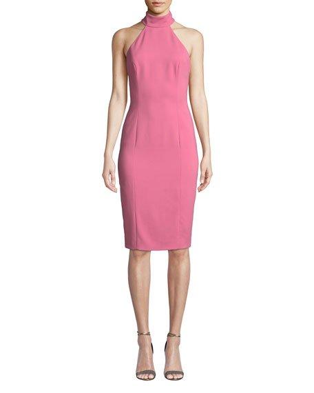 Meghan Sleeveless Halter-Neck Open-Back Sheath Dress