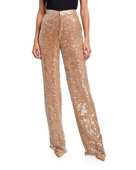 Sequined Jersey High-Rise Trousers