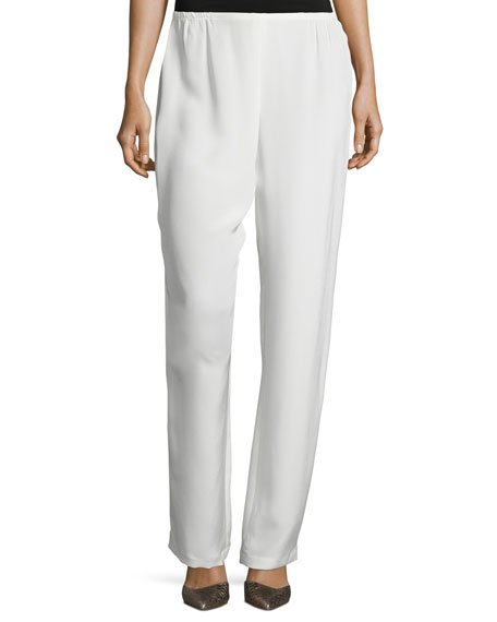 Petite Silk Crepe Straight-Leg Pants