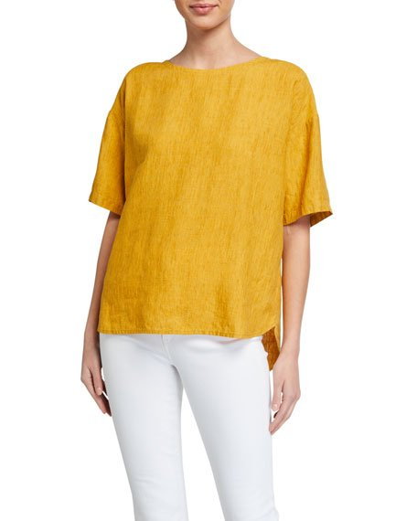 Petite Jewel-Neck Elbow-Sleeve Box Top