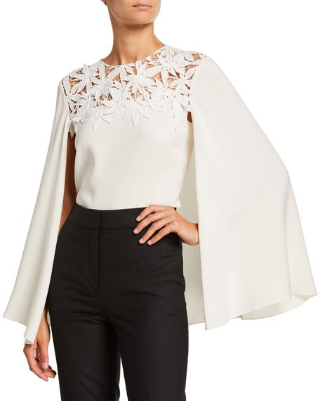 Maple Leaf Embroidered Stretch Silk Blouse w/ Cape