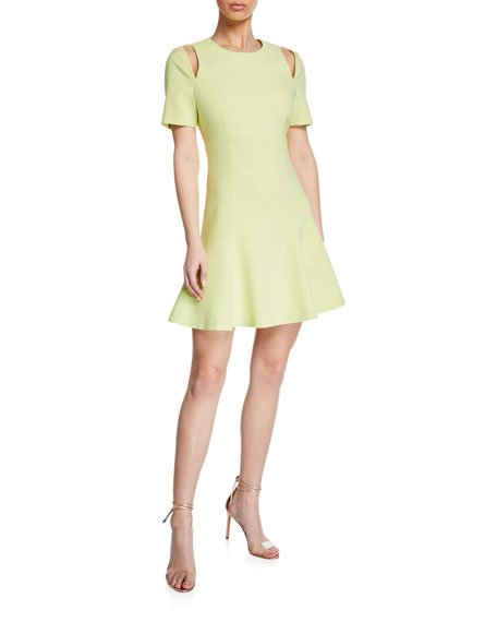Alyssa Crewneck Short-Sleeve Cutout Dress