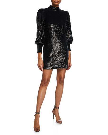 Christy Sequin Mock-Neck Blouson-Sleeve Mini Dress