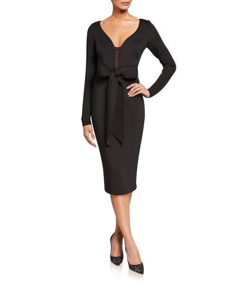 V-Neck Long-Sleeve Scuba Dress with Bow