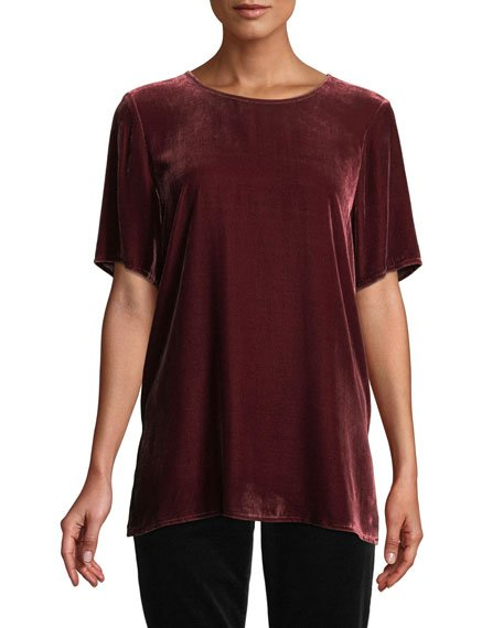 Petite Short-Sleeve Velvet Box Top