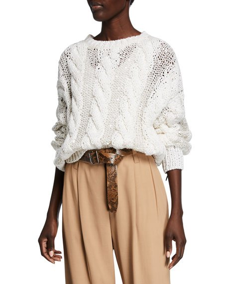 Crewneck Cable Knit Long-Sleeve Sweater w/ Paillettes