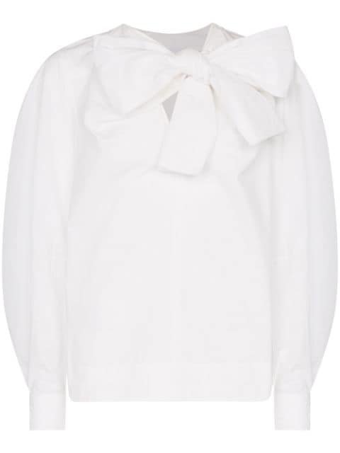 Ganni Pussy-Bow Relaxed-Fit Blouse Ss20 | Farfetch.com