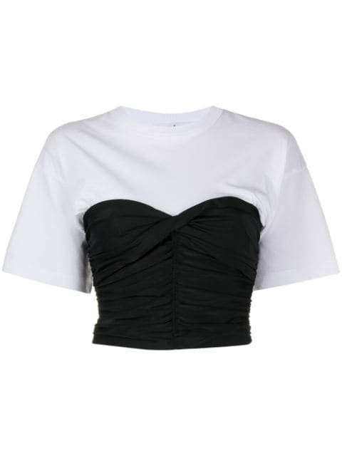 T By Alexander Wang Ruched Contrast T-shirt