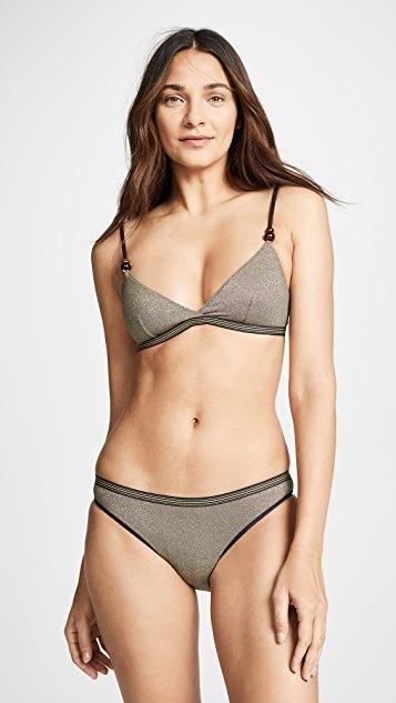 Lame Triangle Bikini Top
