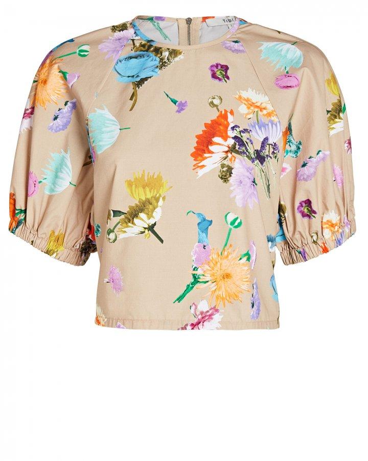 Arya Shirred Floral Cotton Top