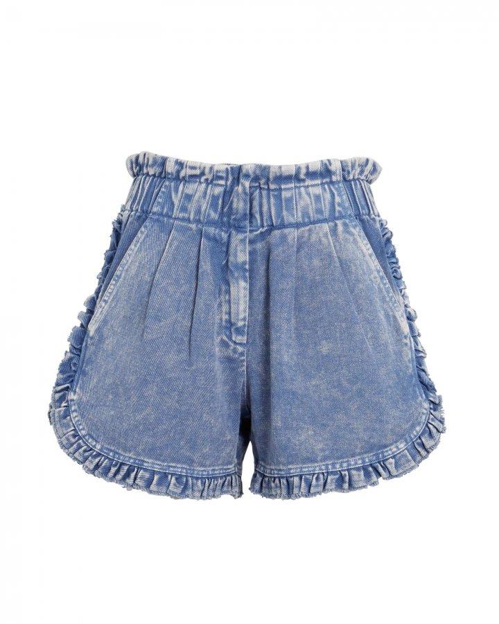 Idun Ruffled Denim Shorts