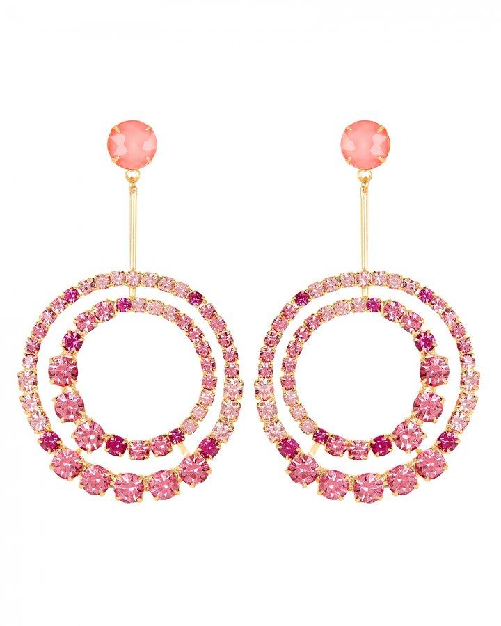 Gia Crystal Circle Drop Earrings