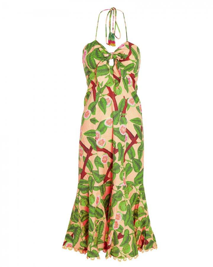 Guava Printed Halter Midi Dress