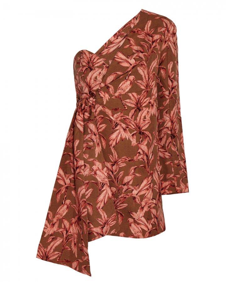 Eva Printed One-Shoulder Mini Dress