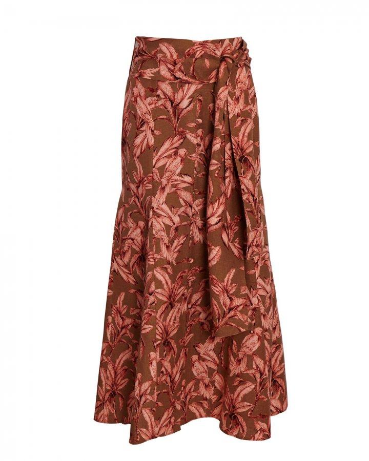 Sienna Tie-Waist Printed Midi Skirt
