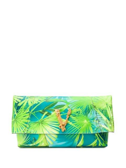 Versace Tropical Print Flap Clutch