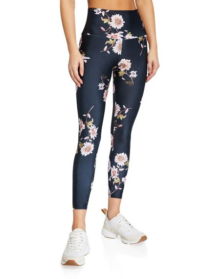 High Basic Midi Floral-Print Leggings