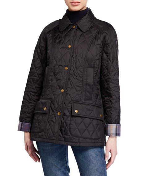 Summer Beadnell Diamond-Quilt Coat