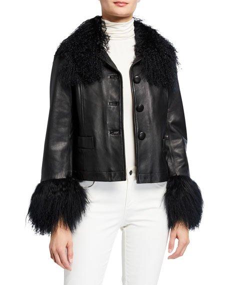 Dorthe Lamb Leather Shearling-Collar & Cuff Jacket, Black