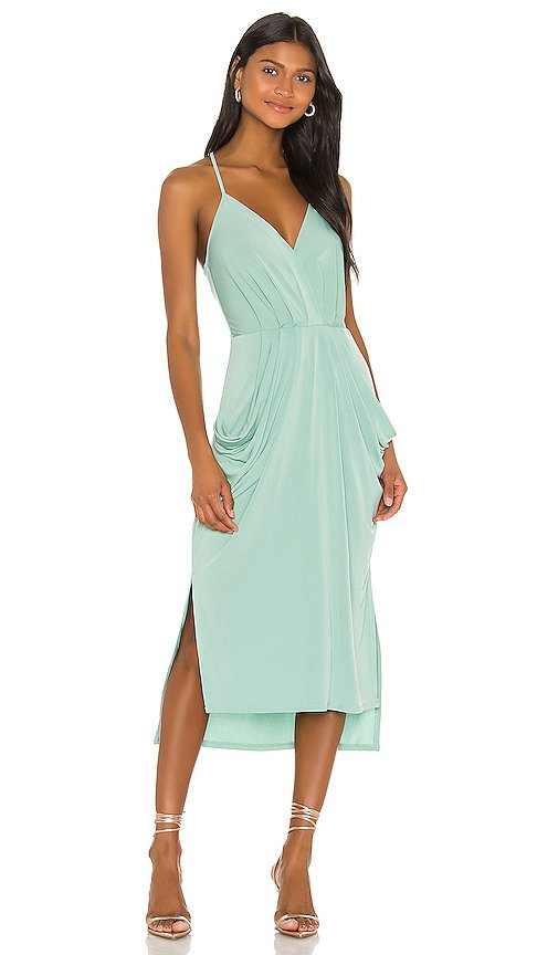 Faux Wrap Midi Dress