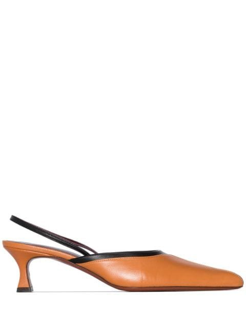 Manu Atelier Brown City 50Mm Slingback Pumps Ss20 | Farfetch.com