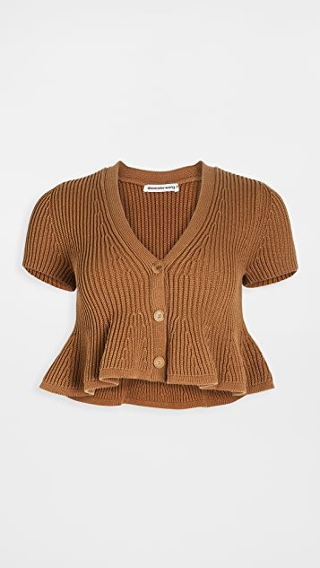 Cropped V Neck Cardigan with Shortrowed