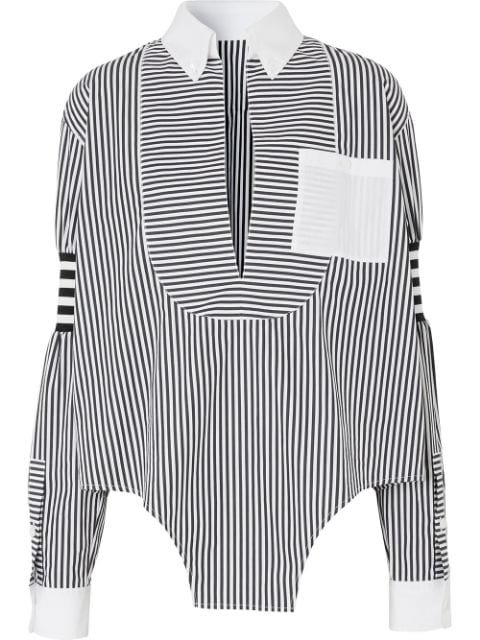 Burberry Cut-Out Hem Striped Shirt Ss20 | Farfetch.com
