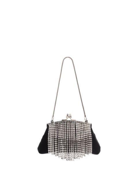 Black & Brown Flora Crystal Fringe Clutch Bag
