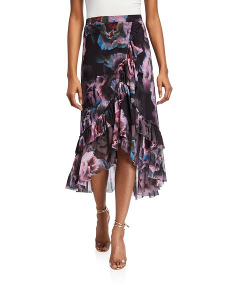 Peony Faux Wrap High-Low Ruffle Skirt