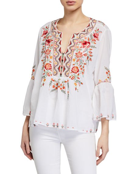 Alise Embroidered Flare-Sleeve Boho Blouse
