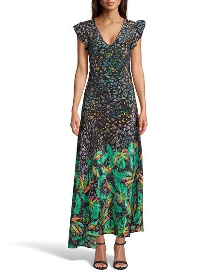 Leighton Tropical Leopard Print Ruffle-Sleeve Long Dress