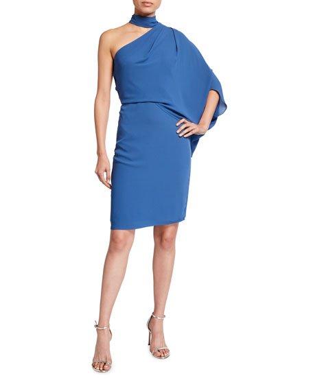 One-Shoulder Wrap-Neck Asymmetric Draped Dress