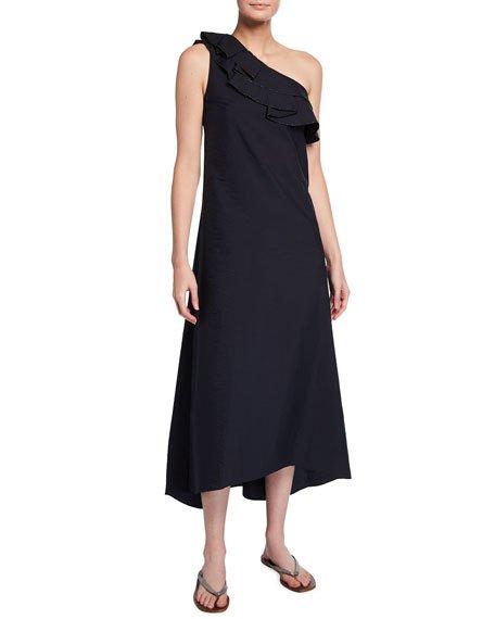 One-Shoulder Crinkled Cotton Maxi Dress