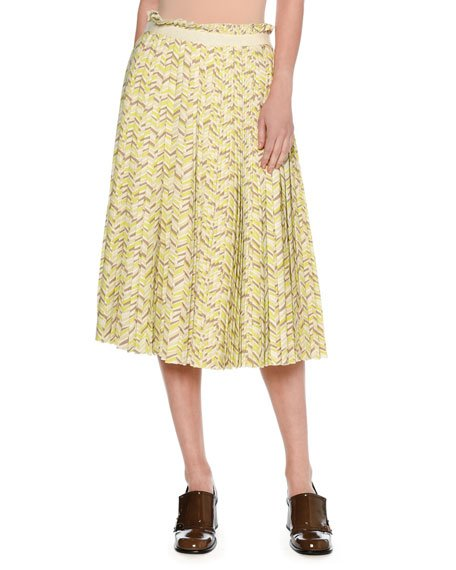 Chevron Pleated Midi Skirt, Yellow