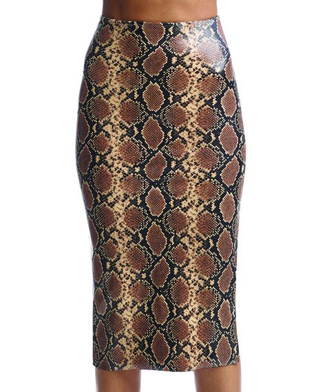 Animal-Pattern Faux-Leather Midi Skirt