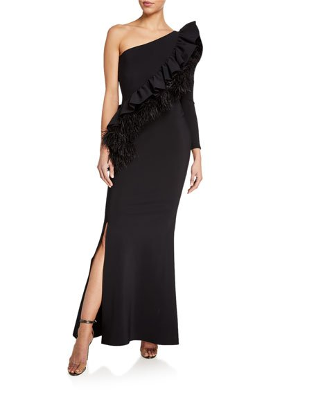 One-Shoulder One-Sleeve Diagonal Feather Ruffle Gown