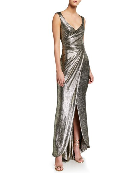 Twisted Metallic Jersey Gown