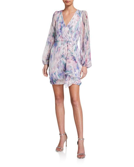 Roslyn Metallic Watercolor Long-Sleeve Dress