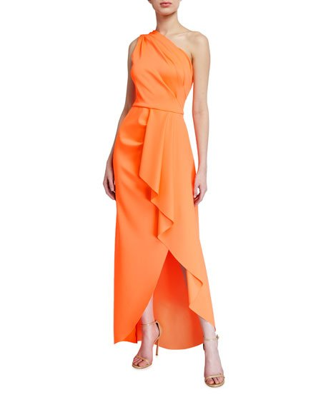 Rex One-Shoulder High-Low Ruffle Gown