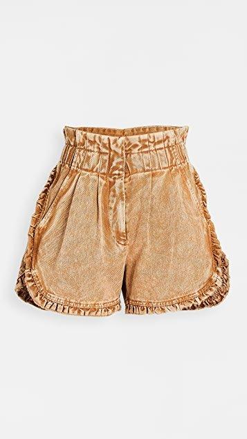 Idun Denim Ruffle Shorts